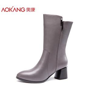 奥康女靴 2017冬季新款欧美风时装靴中筒粗跟时尚出街加绒保暖靴