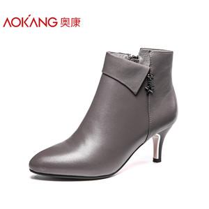 奥康女鞋 2017秋冬季加绒尖头细跟高跟鞋时尚气质宴会女士短靴