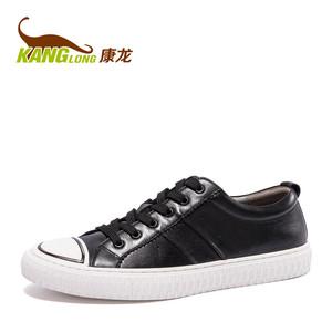 康龙男鞋秋季板鞋男韩版潮流运动鞋真皮英伦时尚平底系带休闲鞋男