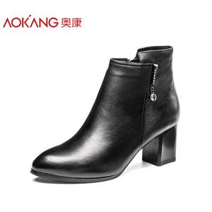 奥康女鞋 冬款粗跟棉靴皮鞋拉链女短靴子 英伦风轻质舒适保暖女鞋