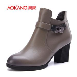 奥康女鞋 秋冬季新品 时尚粗跟短筒拉链纯色简约牛皮高帮短靴女