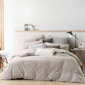 水星家纺水洗棉四件套全棉简约素色被套纯色床单双人新沐风