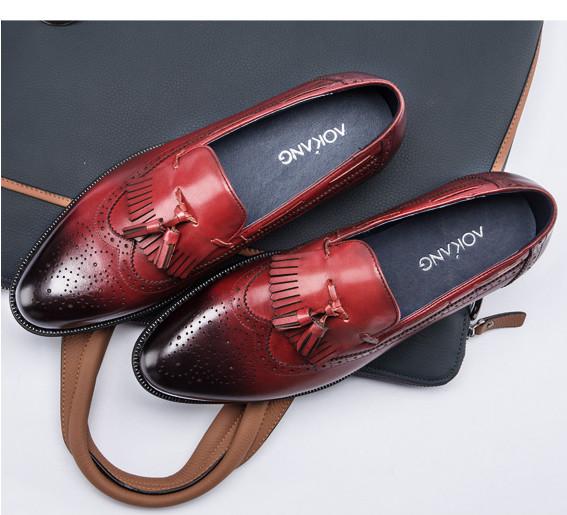 奥康时尚皮鞋 秀MAN上脚签名款流苏布洛克小牛皮男鞋子明星定制款