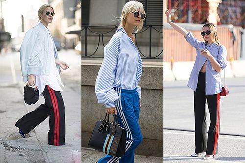 衬衫搭配条纹运动裤 经典又时髦