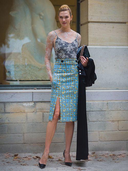 时尚资讯:开衩裙+尖头高跟鞋