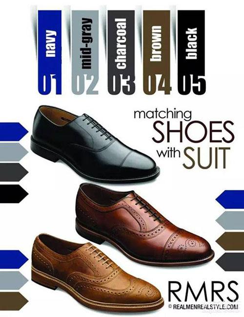 男士皮鞋和西装颜色搭配