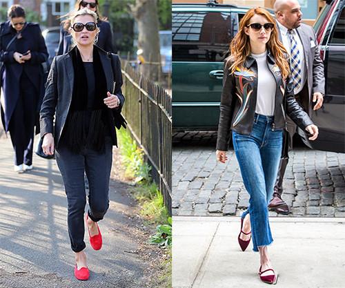 皮鞋时尚资讯:红色平底鞋怎么搭配