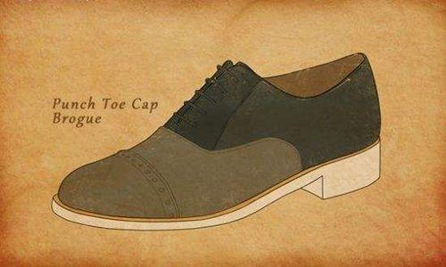 长燕尾布洛克皮鞋